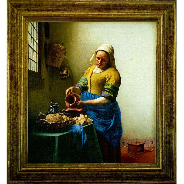 フェルメール 「牛乳を注ぐ女」 高級複製画 金箔貼りハンドメイド特注額付き 共同印刷