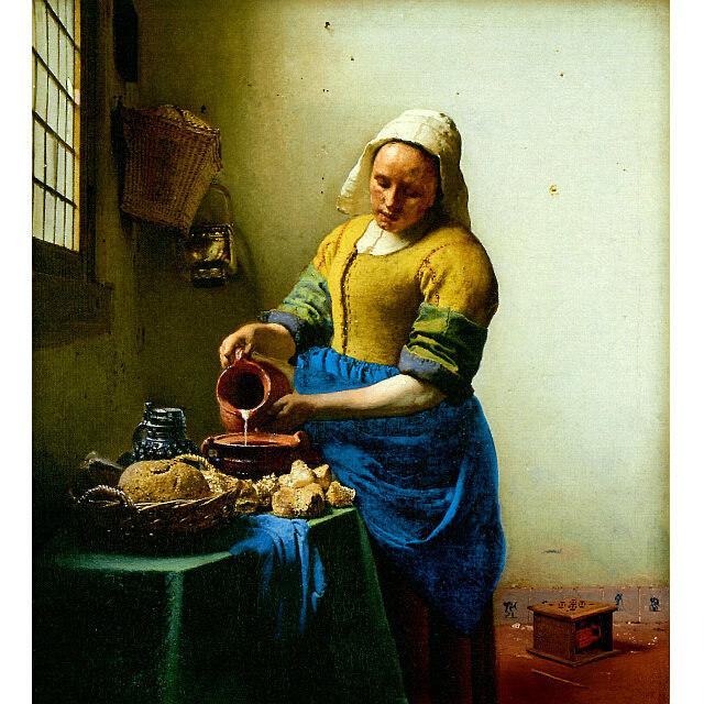 フェルメール 「牛乳を注ぐ女」 複製 原画所蔵アムステルダム美術館