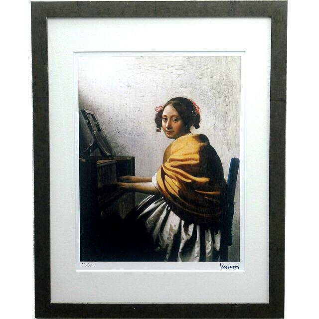 フェルメール 「ヴァージナルの前に座る若い女」 複製画 額付き