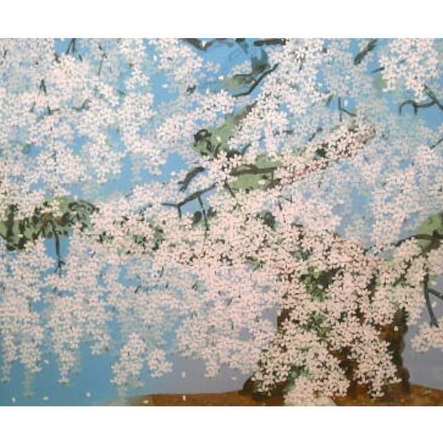 中島千波 桜の絵 桜花清々 シルクスクリーン版画 アートギャルリー日本ぶっくあーと