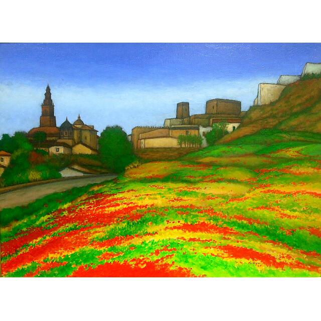 大矢邦昭の油絵、カルモーナのひなげし。スペイン南部の高台の街。赤や黄色に咲くひなげしの絨毯。