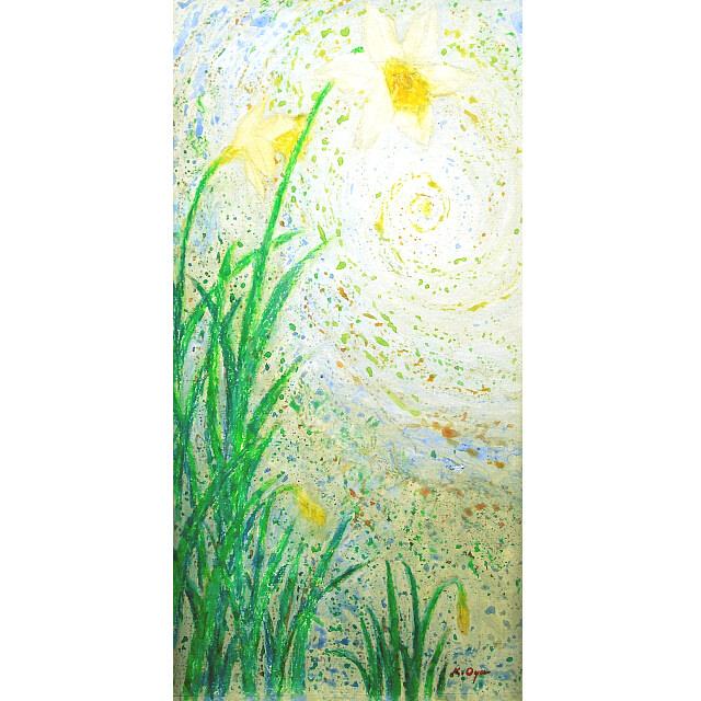大矢邦昭の絵、水仙。マドリードに住む画家の家に咲く水仙。宇宙の神秘を感じる渦が背景に描かれいる。