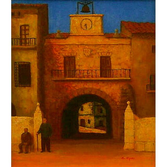 大矢邦昭の油絵、夕日を浴びて。スペインの町にある広場。沈みゆく太陽で、オレンジ色に染められた建物と2人の男。