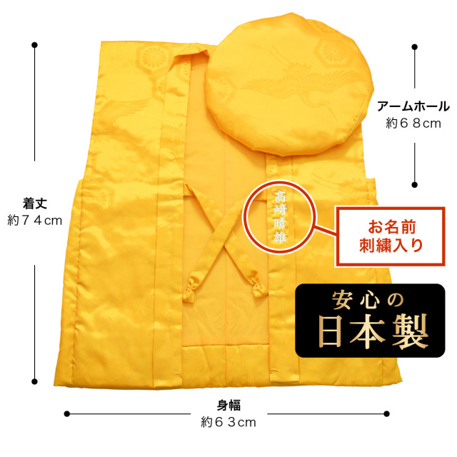 【送料無料】【傘寿(80歳)・米寿(88歳)のお祝いに】鶴亀柄(綸子柄)の黄色ちゃんちゃんこ【お名前刺繍入り】のサイズ