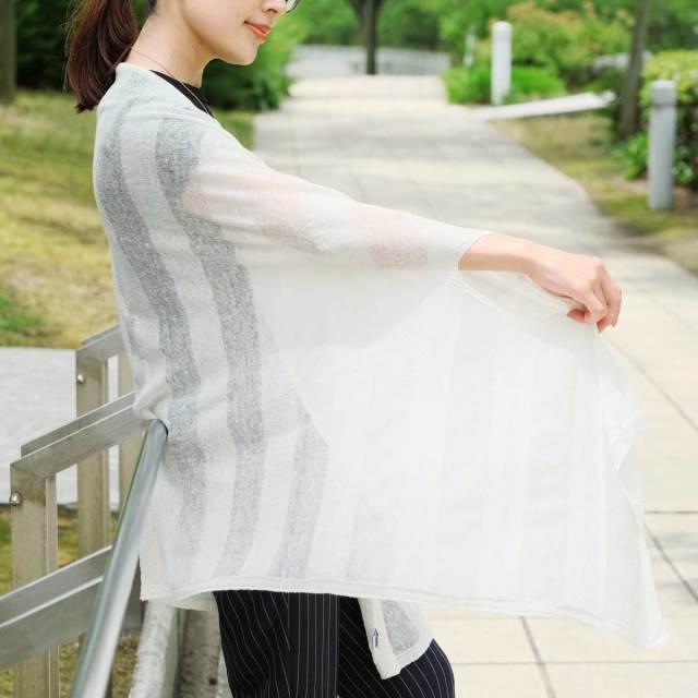 [mino]2018夏 nico linen border ホワイト×ホワイト