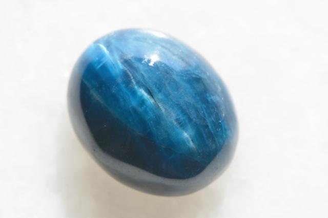 ブルーアパタイト キャッツアイ【11】天然石ルース・カボション(19×16mm)