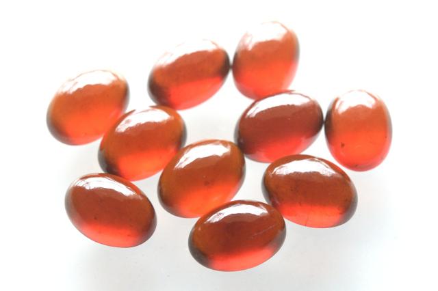 ヘソナイト(オレンジガーネット)【3】 天然石ルース・カボション(20.5×15mm)