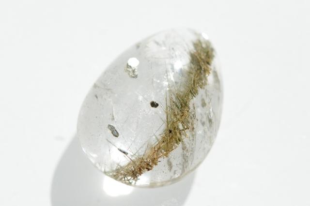 ルチルクォーツ(パイライト入り)【6】天然石ルース・カボション(×mm)