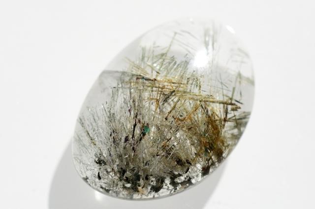 ルチルクォーツ(パイライト入り)【12】天然石ルース・カボション(×mm)