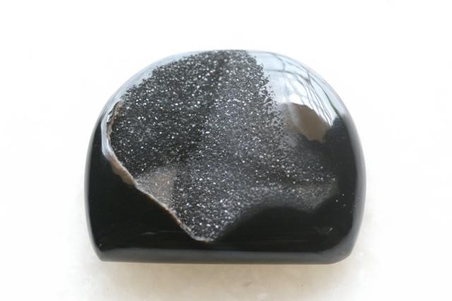 ブラックオニキス・ドゥルージー【1】ルース・カボション(29.5×36.5mm)