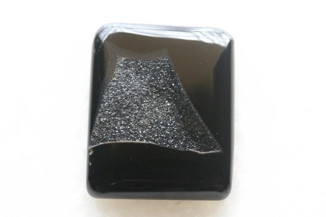 ブラックオニキス・ドゥルージー【10】ルース・カボション(33.5×27mm)