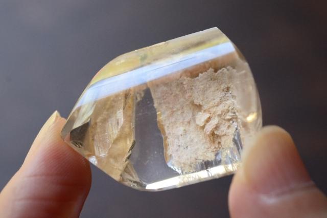 クォーツインクォーツ(貫入水晶)【11】天然石ルース・カボション(32×24mm)