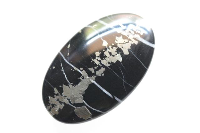 シーファーミットパイライト【1】 天然石ルース・カボション(36×22mm)