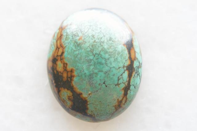 ターコイズ(チベット産)【20】天然石ルース・カボション(33.5×15mm)