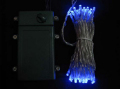■乾電池式、LEDストリングライト(ストレート) 、クリアコード、50球、ブルー