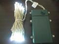 ■乾電池式、LEDストリングライト(ストレート) 、クリアコード、50球、ホワイト