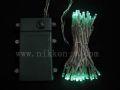 ■乾電池式、LEDストリングライト(ストレート) 、クリアコード、50球、アクアグリーン
