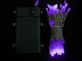 ■乾電池式、LEDストリングライト(ストレート) 、クリアコード、50球、紫(パープル)