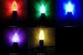 C7型LED電球、E12ソケット用、(赤、緑、青、黄、紫)25球セット (ソケット付コード別売り)