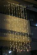 LEDウオーターフォールカーテン(ナイアガラ)、上下方向点滅、プロ仕様(V4)、256球、電球色(イエローゴールド