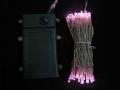 ■乾電池式、LEDストリングライト(ストレート) 、クリアコード、50球、ライトピンク