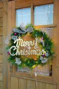 クリスマスリース 60×60cm 電球色LED100球付
