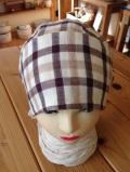 リバーシブル ブラウンチェック バンダナ帽子