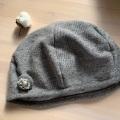 裏地がオーガニックコットンのベレー帽子(グレー)