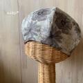リネンベレー帽子(ブラウン花)