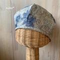 リネンベレー帽子(ブルー花)