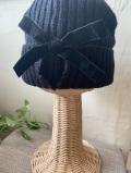 リボン付き可愛いニット帽(ブラック)