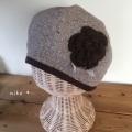花付き ダブルガーゼ ベレー帽(ベージュ)