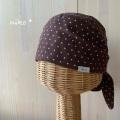 水玉バンダナ帽子(ブラウン)