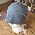 綿麻バンダナ帽子(ブルーボタン付き)