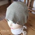 綿麻バンダナ帽子(グリーンボタン付き)
