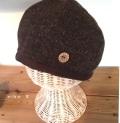 ボタン付きウールベレー帽子(ブラウン)裏ダブルガーゼ