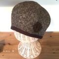 ポンポン付きうウールベレー帽子(ブラウン)裏ダブルガーゼ