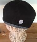 花付きフリース裏オーガニックベレー帽子(ブラック)