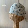 バンダナ帽子(ブルー花柄)