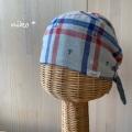 リバーシブルWガーゼバンダナ帽子イカリxブルーチェック(レッド)