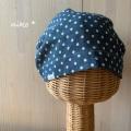 ガーゼキャップ(パステル水玉ネイビー)・夏向け可愛い医療用帽子