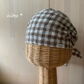 ぽこぽこふわふわバンダナ帽子(ブラウン)