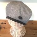 ポンポン付きウールベレー帽子(グレー)裏ダブルガーゼ