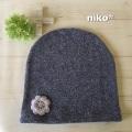 花付きやわらか帽子(ブルー)
