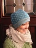 ほんわかキルトニット帽(ライトブルー)