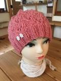 オーガニックコットン付きやわらか手編帽子♪(ピンク)