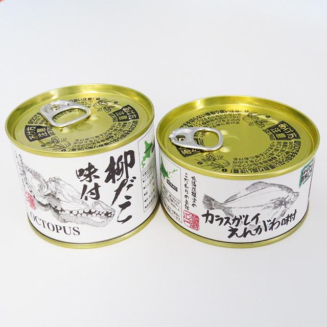 根室商業協同組合 柳だこ味付缶とカラスガレイえんがわ味付缶セット