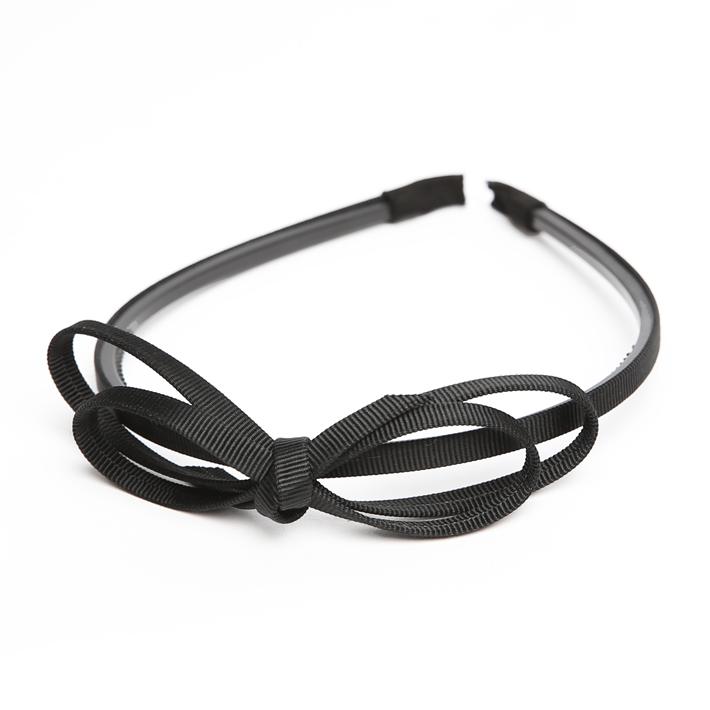 カチューシャ BH-005KA ヘアアクセサリー ブラック 黒 リボン 可愛い 髪飾り レディース 女性用 華やか ゆうパケット対応