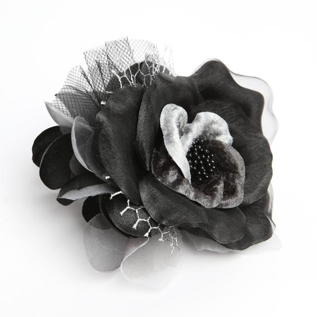 コサージュ BH-001CO ヘアアクセサリー ブラック 黒 フラワー レース 可愛い 髪飾り レディース 女性用 華やか