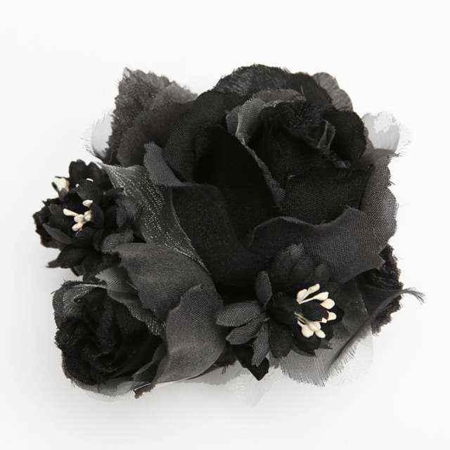 コサージュ BH-003CO ヘアアクセサリー ブラック 黒 フラワー レース 可愛い 髪飾り レディース 女性用 華やか